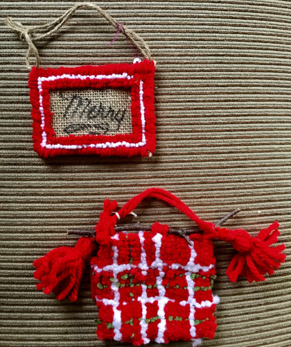 Christmas Ornaments - Merry/Tartan pattern (set of 2)