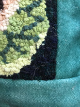 cauliflower rug hooked pillow