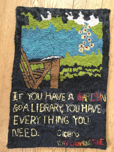 garden and a library hooked rug