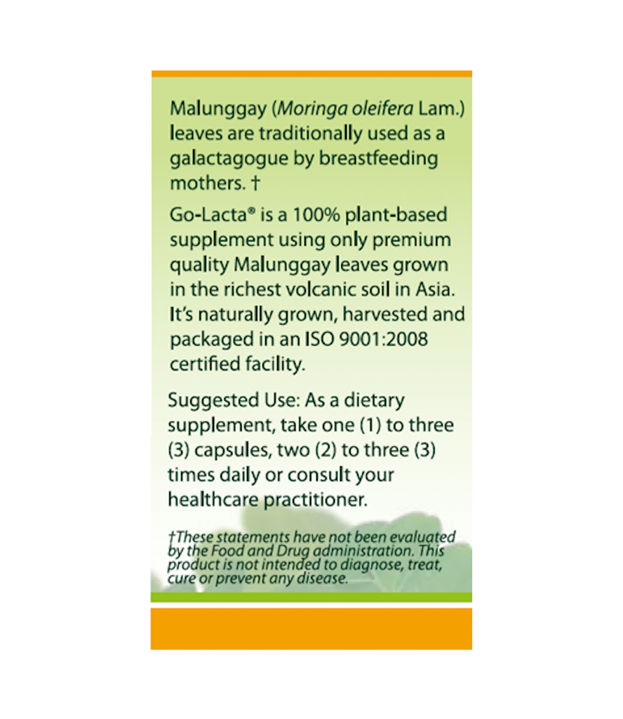 Go-Lacta® 120s Malunggay (Moringa oleifera Lam.) Capsules Clinically Proven to Support Lactation