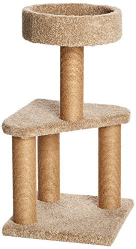 Medium Cat Condo Activity Tree Tower with Scratching Post Toy (16 x 16 x 31 Inches)