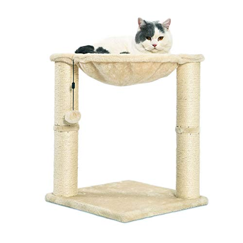 Cat Condo Tree Tower With Hammock Bed And Scratching Post (16 x 20 x 16 Inches)