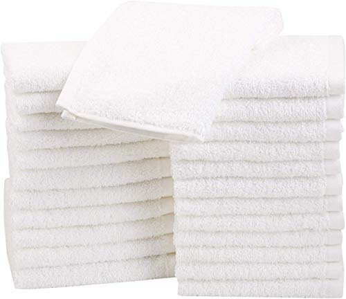 Fast Drying, Extra Absorbent, Terry Cotton Washcloths, White - Pack of 24