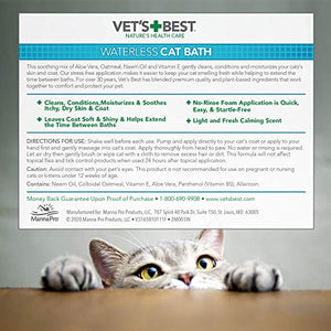 Vet's Best Waterless Cat Bath | No Rinse Waterless Dry Shampoo for Cats (4 oz.)