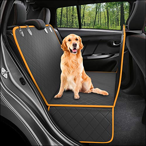 Dog Back Seat Cover Protector Waterproof Scratchproof Nonslip Hammock for Dogs  (XL Black/Orange)