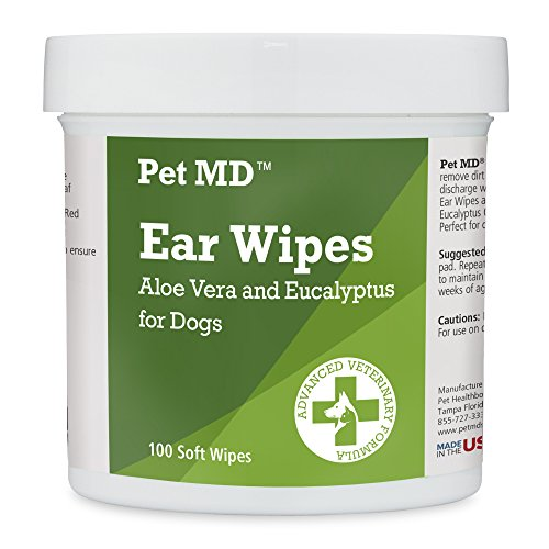 Dog Ear Cleaner Wipes - Otic Cleanser for Dogs to Stop Ear Itching, Yeast and Infections with Aloe and Eucalyptus (100 Count)
