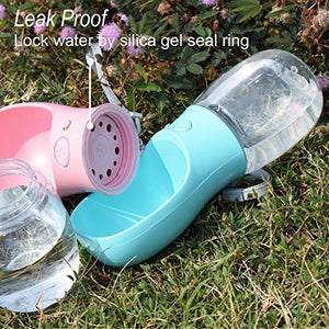 Dog Water Bottle, Leak Proof Portable Water Dispenser with Drinking Feeder (12oz, Blue)