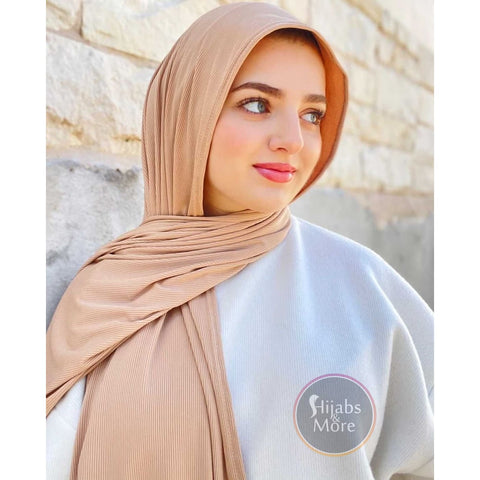 CAMEL LUXURY Ribbed Jersey - Muslim Scarves - CAMEL Ribbed Jersey Hijabs - Online Hijab Stores