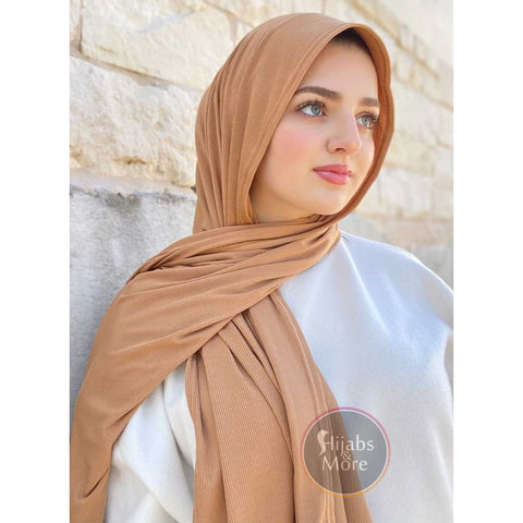 KHAKI LUXURY Ribbed Jersey - Muslim Scarves - KHAKI Ribbed Jersey Hijabs - Online Hijab Store