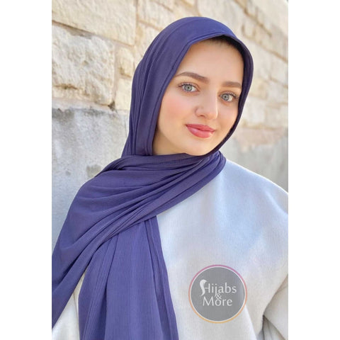 NAVY BLUE LUXURY Ribbed Jersey - Muslim Scarves - NAVY BLUE Ribbed Jersey Hijabs - Online Hijab Store