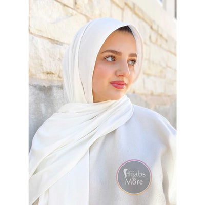 WHITE LUXURY Ribbed Jersey - Muslim Headscarves | WHITE Ribbed Jersey Hijabs | Online Hijab Store