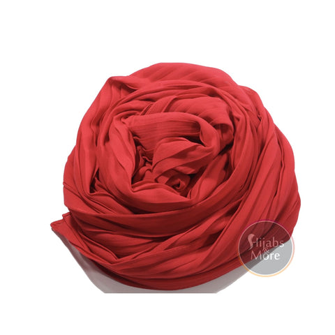 SCARLETT RED Pleated Chiffon Hijab