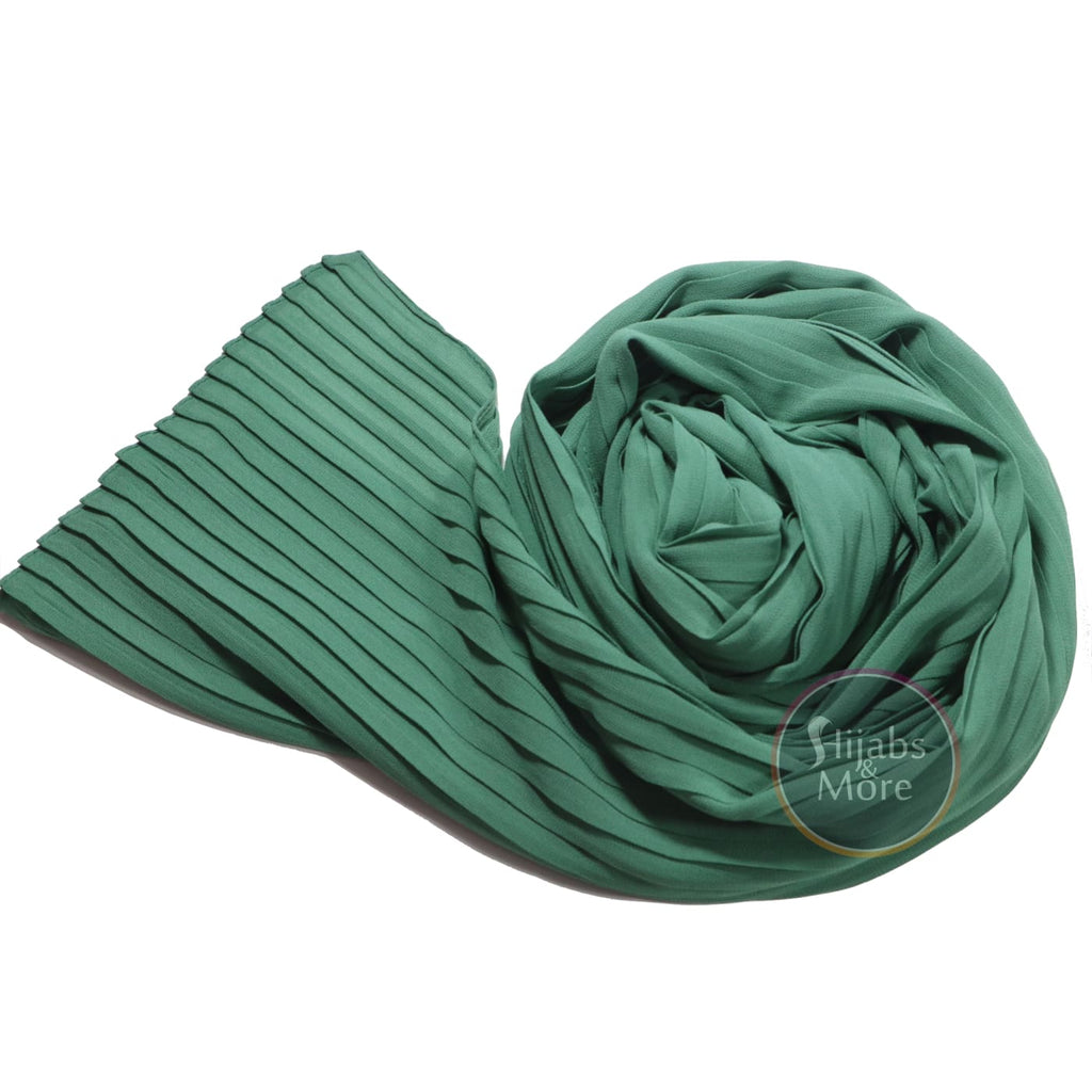 EMERALD GREEN Pleated Chiffon