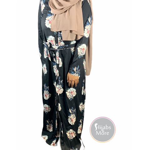 Floral Printed Long Sleeve Abaya - Black - Medium - Abaya