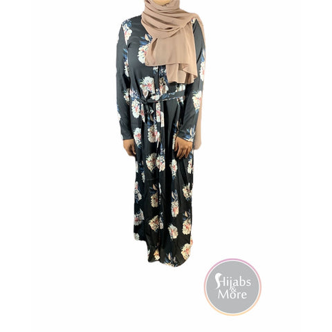 Floral Printed Long Sleeve Abaya - Black - X-Large - Abaya