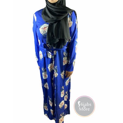 Floral Printed Long Sleeve Abaya - BLUE - Large - Abaya