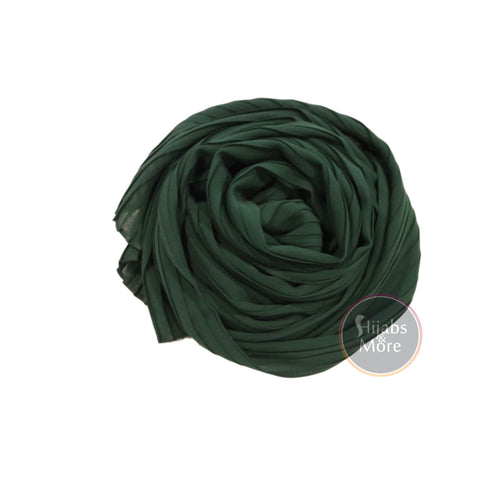 FOREST GREEN Pleated Chiffon