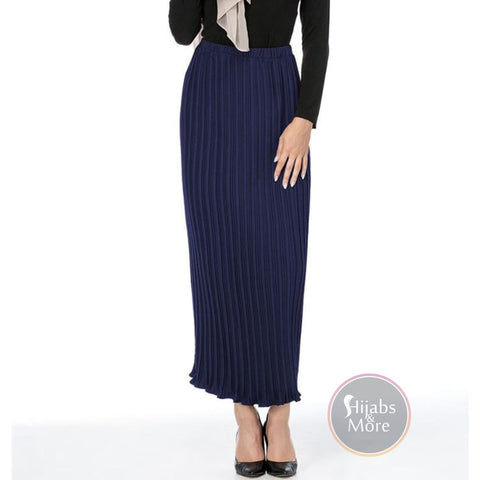 Modest Pleated Skirts - Large / Navy Blue - Skirts