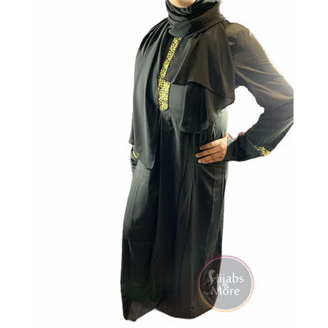 Printed Plain Long Sleeve Abaya - Black - Large - Abaya