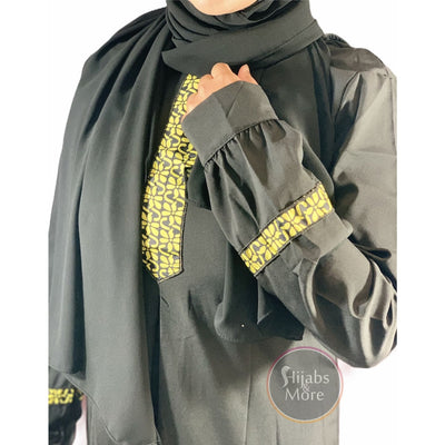 Printed Plain Long Sleeve Abaya - Black - Small - Abaya