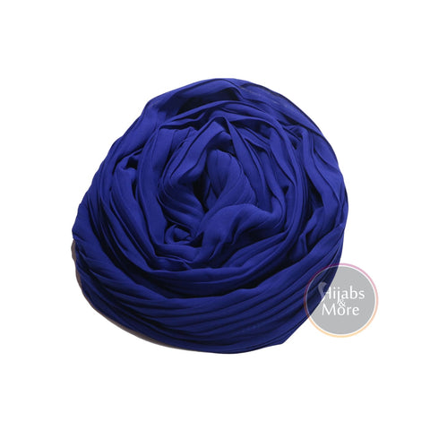 DARK BLUE Pleated Chiffon