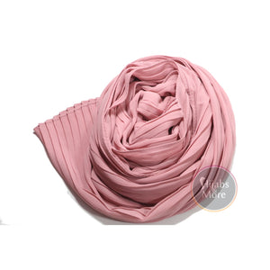 SALMON PINK Pleated Chiffon