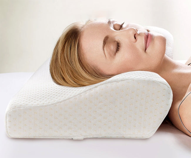 woman with head on cervical pillow