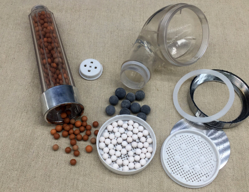 disassembled ionic shower head filter