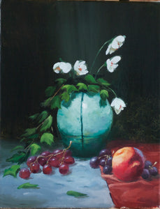 """Blue Vase with Peach"""