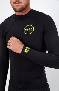 Bronte Series 1.5mm Wetsuit Top - Black Neoprene, Yellow Logo