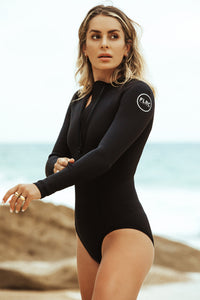 Paz Series 1.5mm Women's Summersuit - Black Neoprene, White Logo