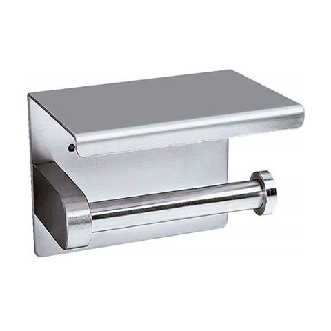 China-top Silver 304 Stainless Steel Toilet Paper Holder RUSTPROOF Stainless Steel Bathroom Tissue Paper Towel Shelf Adhesive Roll Holder Hanger Wall Mount with Mobile Phone Storage AK56