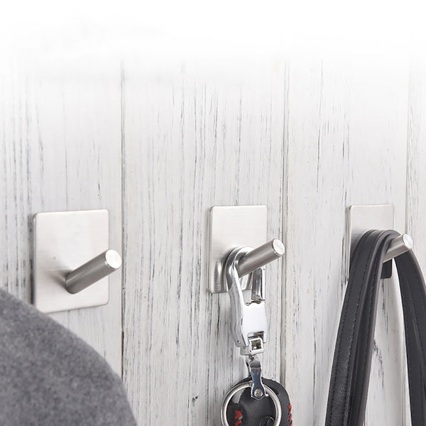 China-top Silver 304 Stainless Steel Coat Hooks Towel Hooks Robe Clothes Hooks for Bath Kitchen Garage Heavy Duty Adhesive Wall Hooks Contemporary Square Style Wall Mounted, Brushed Finish