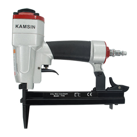 Kamsin 7116L Upholstery Stapler - 22 Gauge 71 Series 3/8-inch Crown 1/4-inch to 5/8-inch leg length Fine Wire Stapler Furniture Stapler Pneumatic Nail Guns