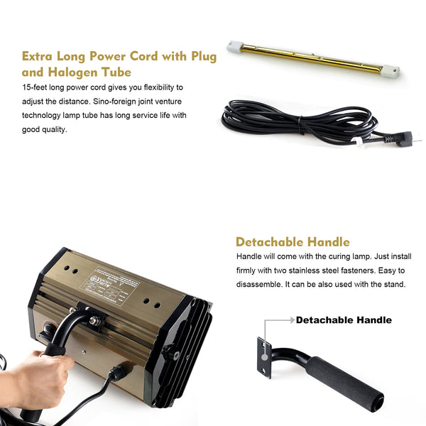 Kimsing IR1 Hand-held Shortwave Baking Infrared Paint Curing Lamp, 800W Rated Power, 15-feet Extra Long, Infrared Heater Lamp, Dryer for Curing Paint, Auto Body or Spot Repairing, Drying Primer