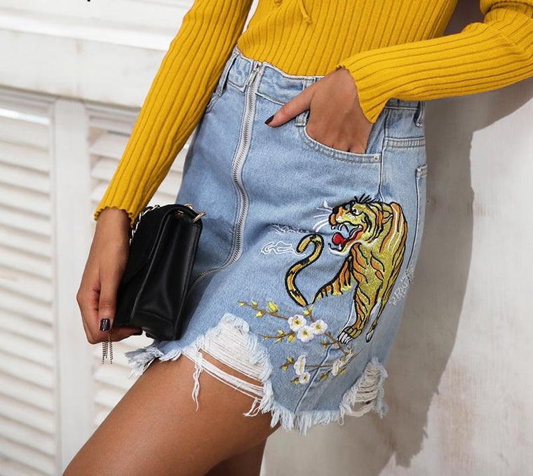 TIGER DENIM SKIRT