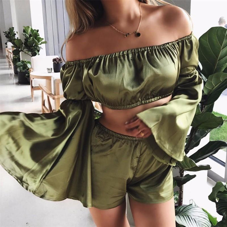 SILKY TWO-PIECE PLAYSUIT