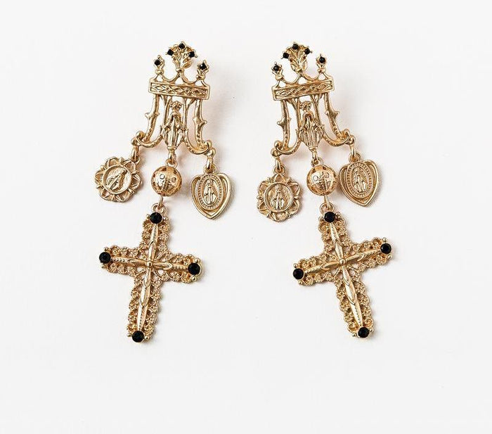 VINTAGE CROSS EARRINGS