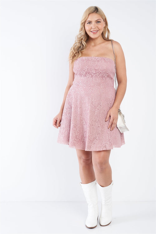 Pink Lace Strapless Flare Mini Dress