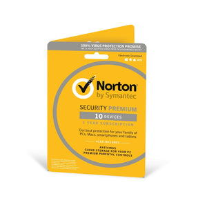 Norton Security Premium 2019 |10 Devices | 1 Year | Antivirus included | PC/Mac/iOS/Android | Activation Code by Post