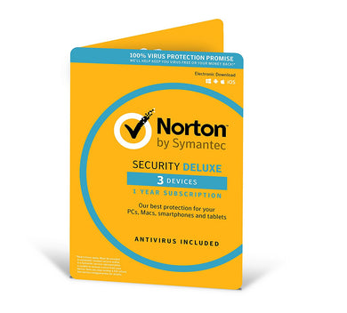 Norton Security Deluxe | 3 Devices | 1 Year | Antivirus included | PC/Mac/iOS/Android | Activation Code by Post