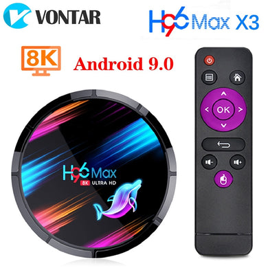 TV Box 2020 H96 Max X3 Smart Android 9.0 TV Box Netflix Youtube HD 8K Google Voice Assistant 128GB 64GB 32GB