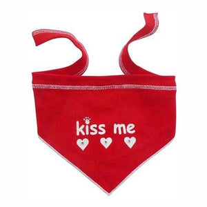 Kiss Me Dog Scarf with Rhinestones - Red