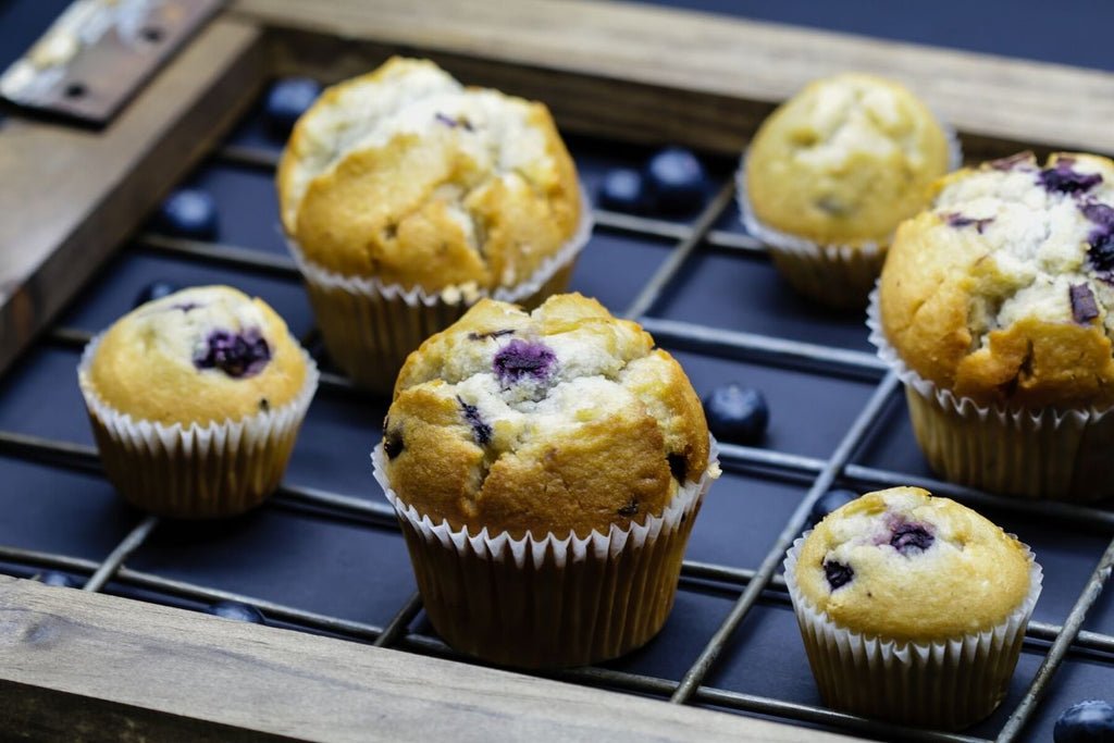 Blueberry Peach Turmeric Muffins