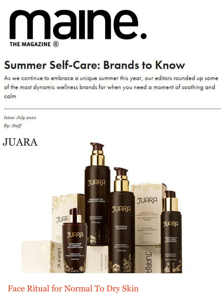 """As we continue to embrace a unique summer this year, our editors rounded up some of the most dynamic wellness brands for when you need a moment of soothing and calm""   THE JUARA FACE RITUAL FOR NORMAL TO DRY SKIN"