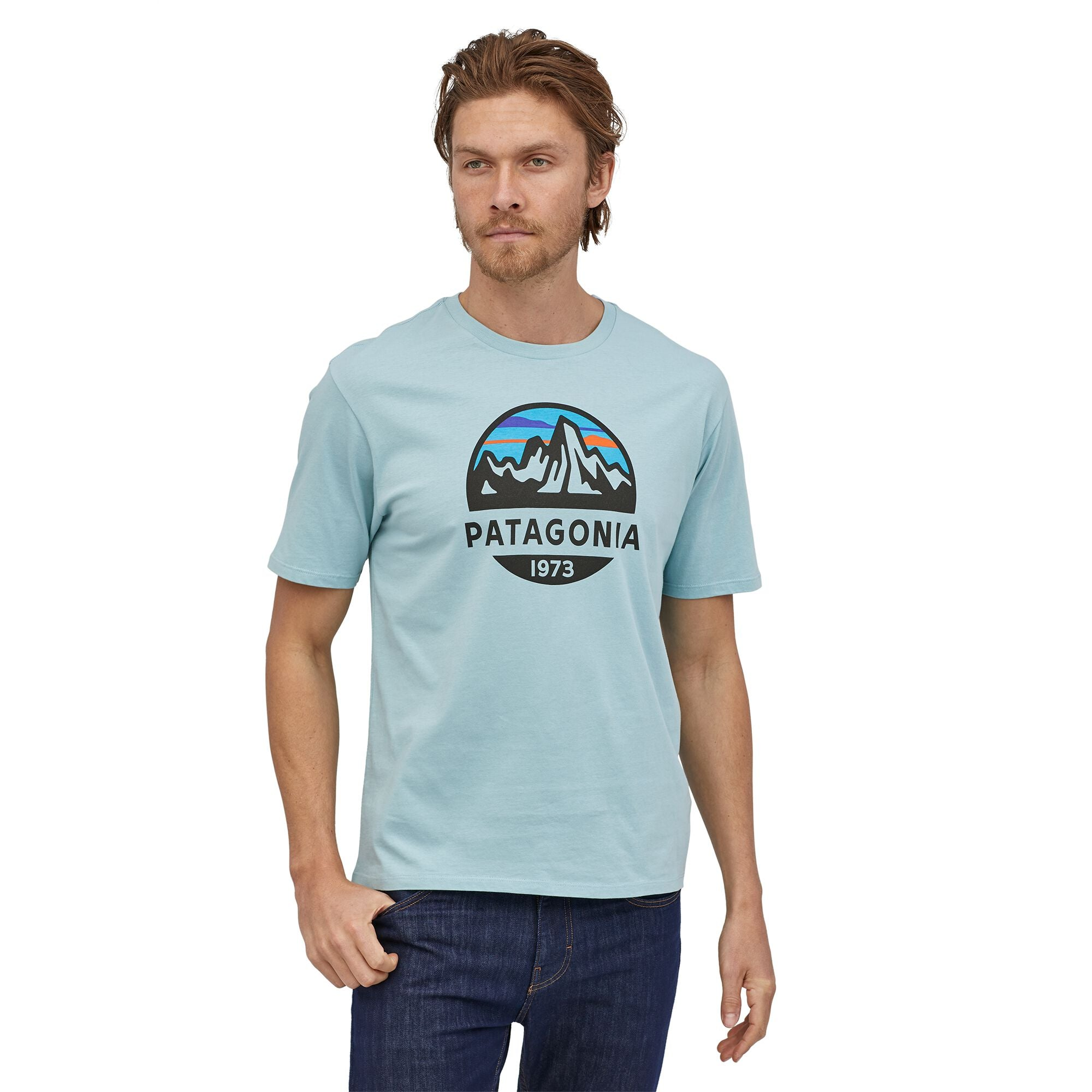 Polera Hombre Fitz Roy Scope Organic T-Shirt Azul Patagonia