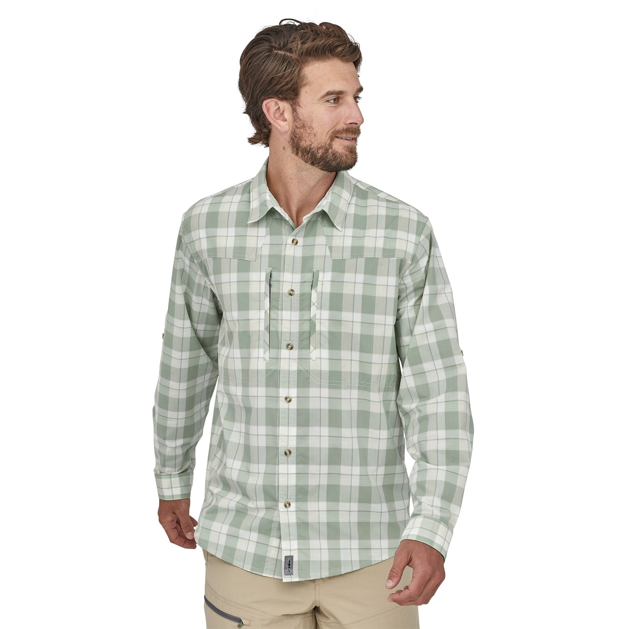 Camisa Hombre Manga Larga Long–Sleeved Sun Stretch Shirt Verde Patagonia