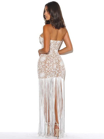 IamtheOne White Lace Fringe Gala Dress