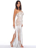 Image of IamtheOne White Lace Fringe Gala Dress