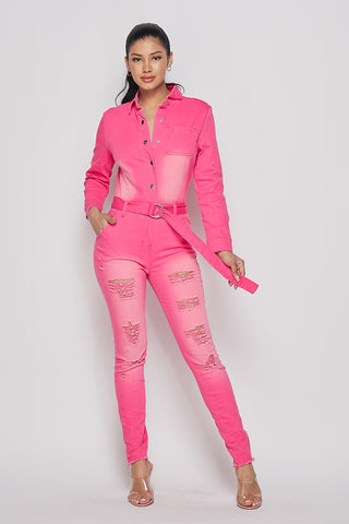 IamPink Denim Jumpsuit